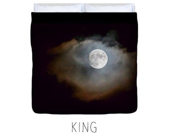 Black duvet cover, black bedding, moon decor, moon duvet, moon bedding, child's bedroom, astronomy, space decor, space bedroom decor, moon
