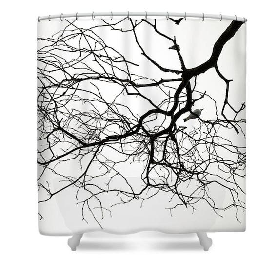 Black And White Shower Curtain Tree Shower Curtain Black And Etsy