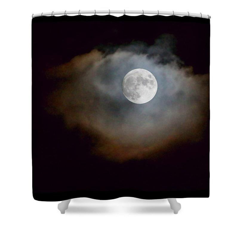 Moon Zasłona Prysznicowa Czarna Wystrój łazienki Czarna Zasłona Prysznicowa Niebo Nocy Księżycowy Zdjęcie Zasłona Prysznicowa Niepowtarzalny