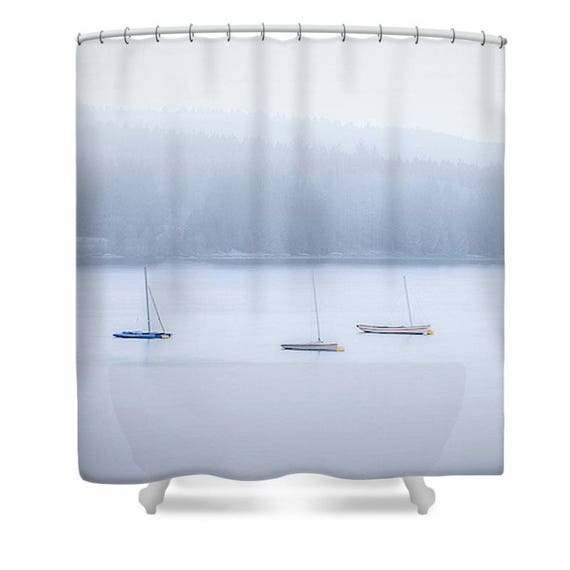 Blue Shower Curtain Bathroom Decor Boat