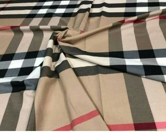 Burberry Inspired Scotch Large Plaid Cotton Poly Fabric 60