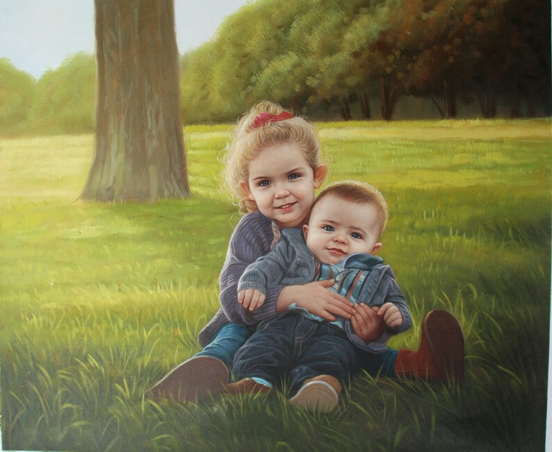 2 Subjects Children Custom Portrait-oil painting-custom image 0