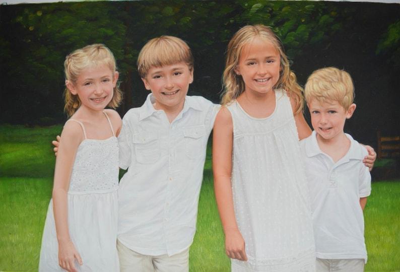 4 Subjects Children Custom Portrait-oil painting-custom image 0