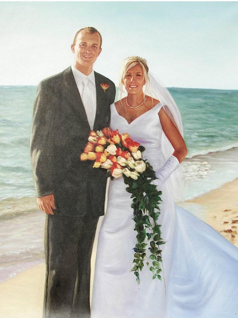 Beach Wedding Custom Oil Portrait. Wedding Portrait. Wedding image 0