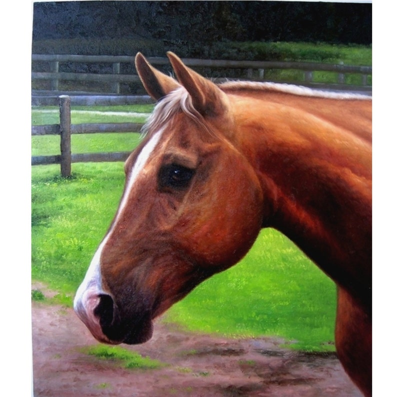 Horse Oil Custom Portrait. Custom Oil Portrait. Dog custom image 0