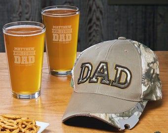 ec7267b0b90 Baseball Cap Bottle Opener and Custom Pint Glasses for Dad