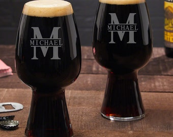 Oakmont Personalized Spiegelau Stout Glasses, Set of 2 - Perfect for Beer Lovers, Engraved Beer Glass, Etched Beer Glass, Custom Pint Glass