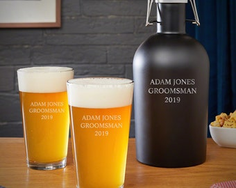 3 Lines of Text Personalized Beer Lover Gift Set - Beer Lover Gift, Custom Engraved Pint Glasses, Custom Beer Growler, Engraved Beer Glasses