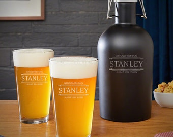 Stanford Personalized Growler and Pint Glass Groomsmen Gift Set - Perfect Beer Lover Gift, Engraved Pint Glasses, Custom Etched Beer Growler