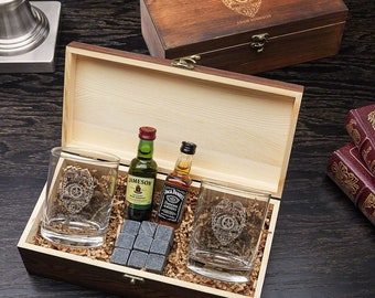 Police Badge Personalized Whiskey Stones Gift Box - Perfect for Whiskey Lovers, Police Officer Gifts, Police Retirement, Graduation Gift