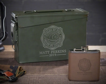 ed683592826b Fueled by Fire Custom Ammo Can Flask Set - Gift for Firefighter