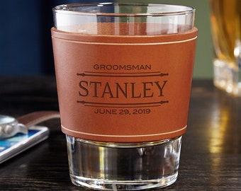 Stanford Custom Leather Wrap Whiskey Glass - Whiskey Lover Gift, Personalized Whiskey Glass, Groomsmen Gift, Best Man Gift Idea, Groomsman