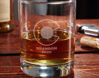 Colorado Flag Custom Whiskey Glass - Whiskey Lover Gift, Custom Engraved Rocks Glass, Etched Whiskey Glass, Gift for Denver Bronco Fans
