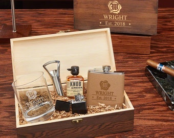 Wax Seal All The Vices Personalized Whiskey Gift Set - Whiskey Lover Gift, Whiskey Gift Box, Graduation Gift, Liquor Flask, Retirement Gift