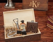 All The Vices Classic Monogram Gift Box - Personalized Gift Set, Whiskey Gift Box, Graduation Gift, Liquor Flask Gift, Retirement Gift Idea