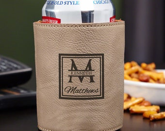 Personalized Oakhill Beer Can Holder - Sand Colored - Perfect Groomsmen Gifts for Men Who Love Beer - Custom Engraved Bottle & Can Holder
