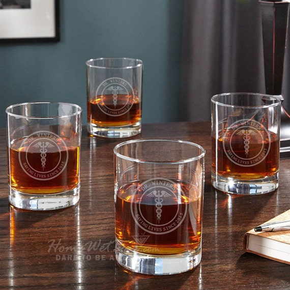 medical arts personalized whiskey glasses set of 4 great etsy