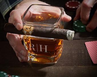 Quinton Custom Whiskey Cigar Glass Holder - Whiskey Lover Gifts, Cigar Aficionados, Engraved Rocks Glass, Bourbon Glass, Cigar Holding Glass