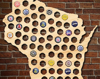 Wisconsin Beer Cap Map - Made of Beautiful Birch Wood! - WI Beer Cap Holder, Craft Beer Gifts for Men, Packers Fans