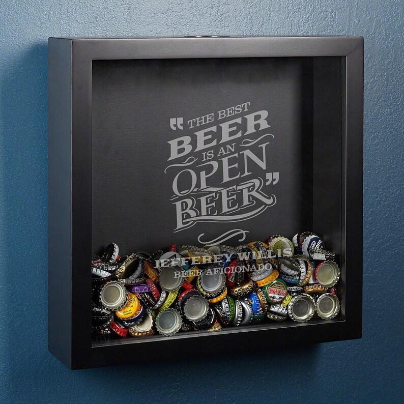 3c3869d916c Personnalisé vitrine bouchon de bière Black Shadow Box avec