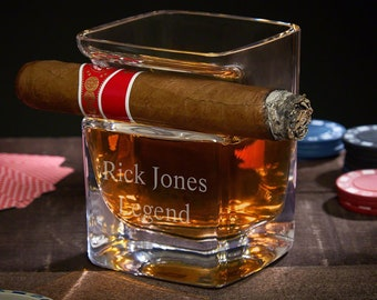 Personalized Cigar Holding Whiskey Glass - Perfect for Whiskey Lovers, Cigar Aficionados, Engraved Rocks Glass, Bourbon, Cyber Monday Sale