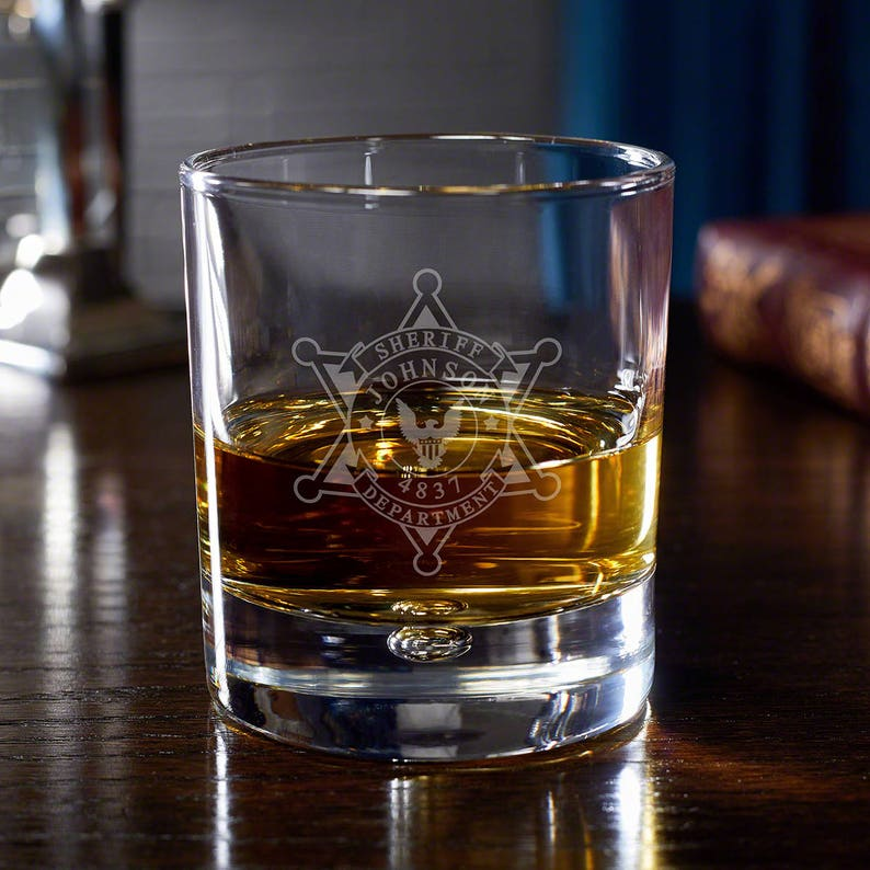 1642052895b Custom Engraved Whiskey Glasses Features Our Sheriff Badge