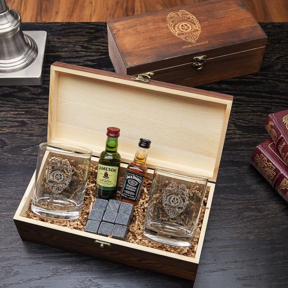 4b66ca97dc3 Police Badge Personalized Whiskey Stones Gift Box Perfect