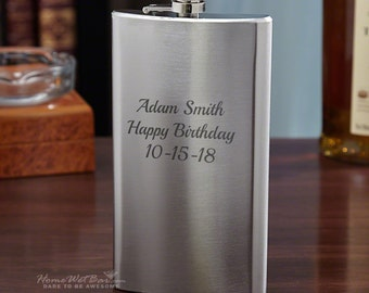 Stainless Steel Flask, 12oz - Stainless Steel Personalized Flask Any Custom Text - Perfect for Groomsmen Gifts or Any Occasion