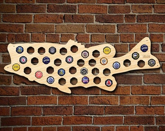 Bottle Cap Holder of Large Mouth Bass Fish - Fishermen Gifts, Fishing Gifts, Lodge and Fishing Cabin Decor, Beer Cap Maps for Men
