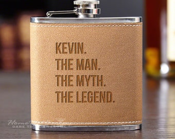 The Man The Myth The Legend Personalized Flask - Custom Engraved Gift Includes Name - Perfect for Dad, Husband, Boyfriend, Groomsman