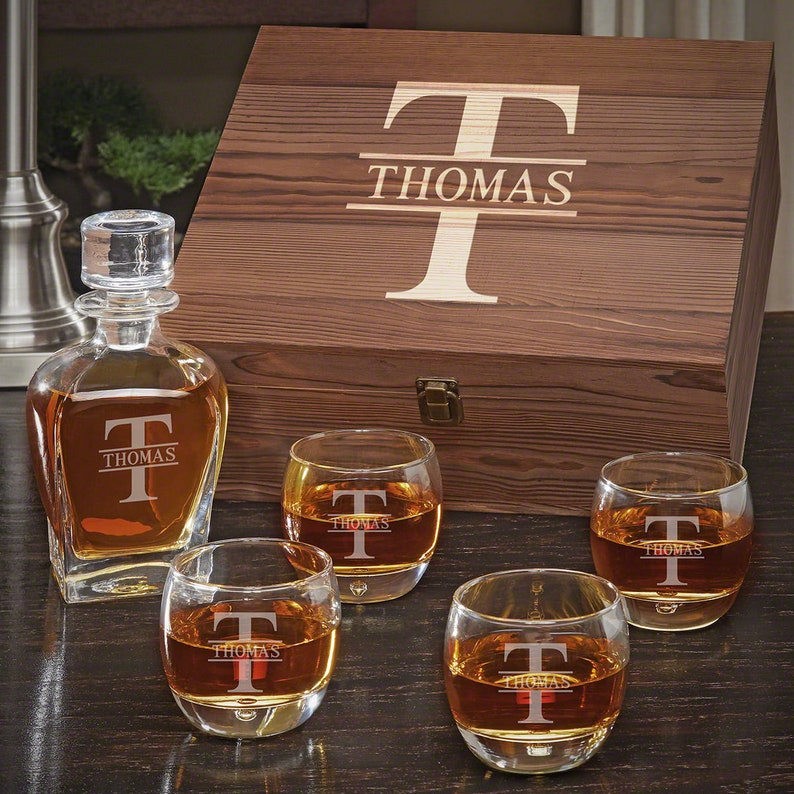 5cdd62d82e9 Oakmont Engraved Whiskey Decanter Set - Custom Etched Whiskey Decanter,  Personalized Rocks Glasses, Whiskey Lover Gift, Retirement Gift Idea