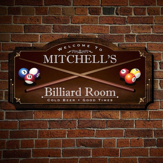Personalized Signs For Home Decorating: Billiard Room Personalized Wood Home Sign Custom Home