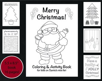Christmas Coloring And Activity Book Printable Kids Holiday Instant Download