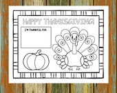 Printable Thanksgiving Placemat, 8.5x11, 8.5x14, 11x17, Kid's Thanksgiving Activity, Thanksgiving Coloring, Children's Thanksgiving Placemat