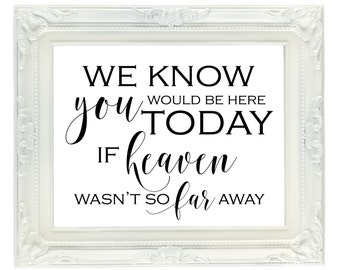 graphic about We Know You Would Be Here Today Free Printable referred to as Individuals We Enjoy Dont Transfer Absent Memorial Signal 8x10 Printable Etsy