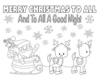 christmas coloring page 85x11 instant download printable santa coloring sheet holiday coloring kids christmas activity reindeer