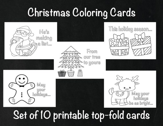 Christmas Coloring Cards Kids Holiday Cards Christmas   Etsy