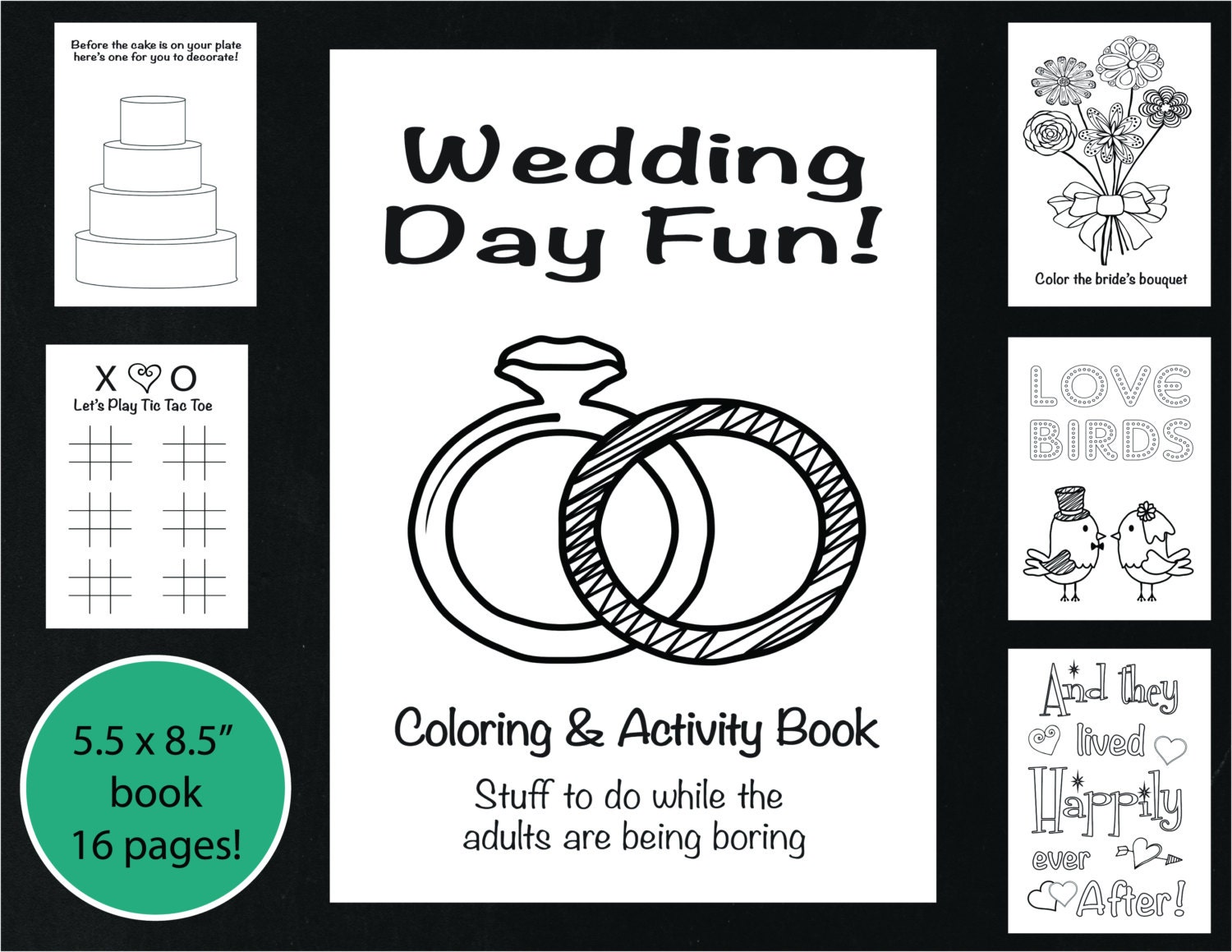 Wedding coloring and activity book reception game kids wedding coloring book wedding coloring page wedding word search printable