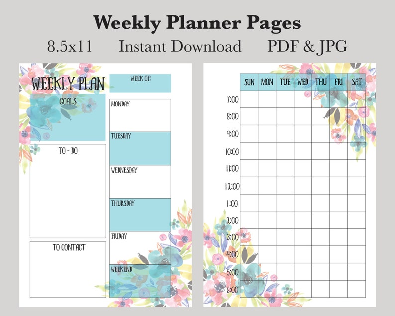 photograph regarding Weekly Planner Pages called Weekly Planner Web pages, Prompt Obtain Printable Planner Internet pages, 8.5x11 Weekly Calendar Webpages, Undated Planner Webpages, 2017 Planner