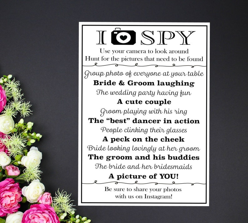 I Spy Wedding Photo Game Card 4x6 5x7 Wedding Reception Etsy