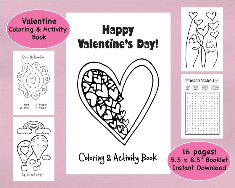 Valentine Coloring Book & Activity Book Valentine\'s Day | Etsy