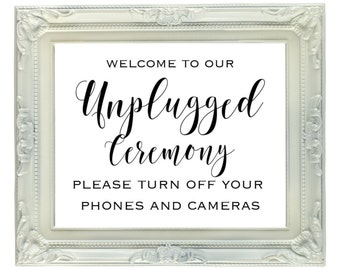 Unplugged Ceremony Sign, 8x10 Unplugged Wedding Sign, Printable Wedding Sign, wedding decor