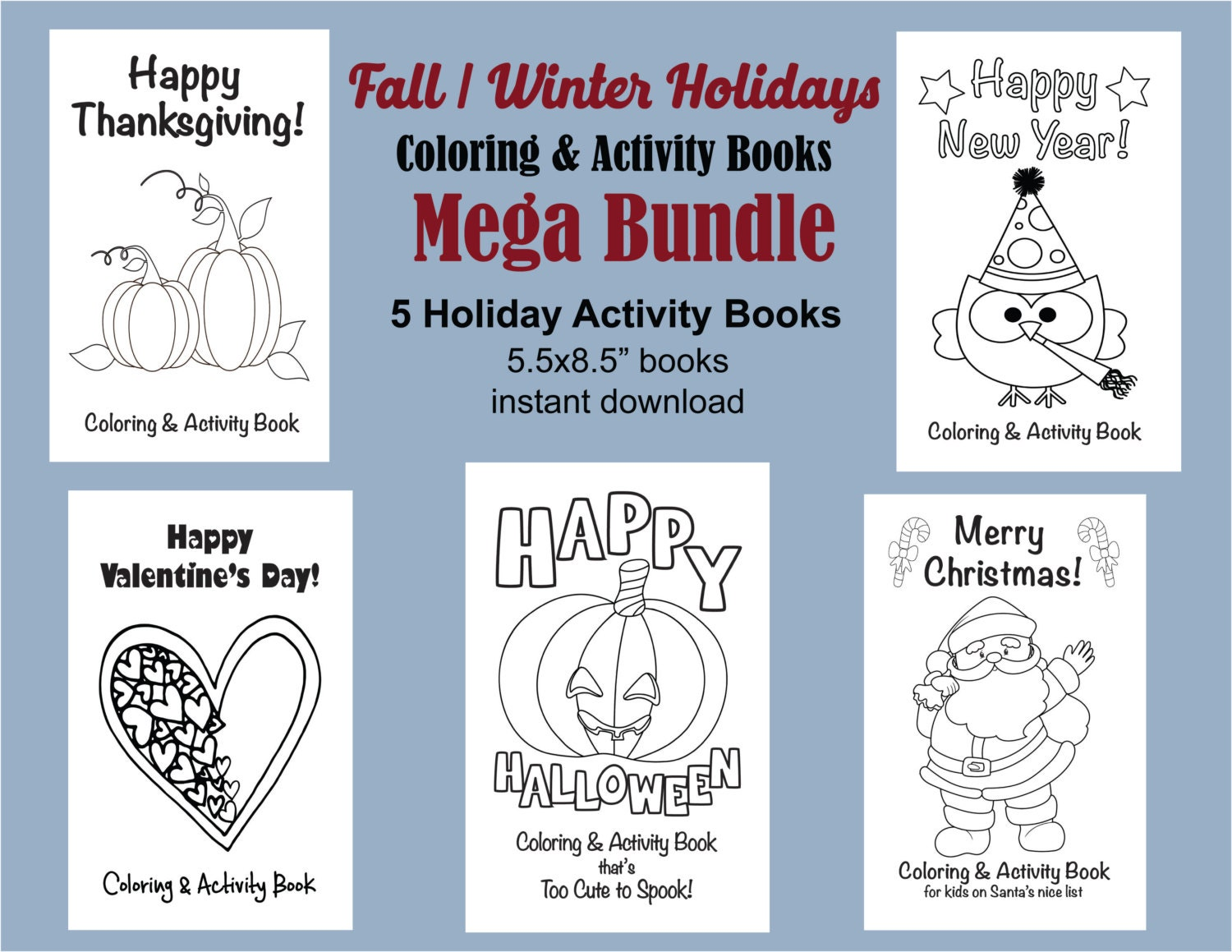 Holiday Coloring Books Halloween Coloring Thanksgiving | Etsy