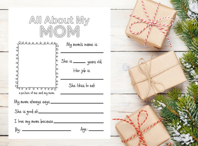 picture relating to All About My Mom Printable named All Pertaining to My Mother, Moms Working day Reward, Printable Moms Present