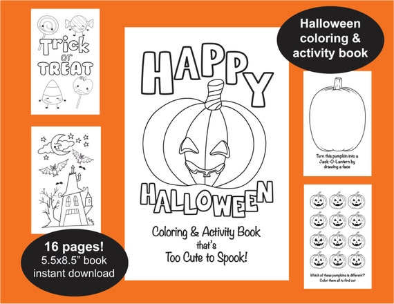 Halloween Coloring & Activity Book 16 Page Book Halloween