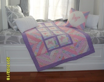 Pink & Purple Butterfly Quilt, Baby girl Quilt , Pink Butterfly quilt, Embroidered  quilt, Embroidered baby blanket