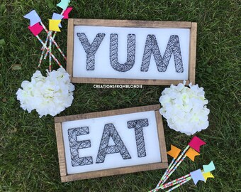Eat, Yum Framed String Art Sign, MADE TO ORDER