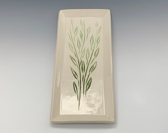 Serving  Plate, Porcelain, Hand-Carved, Clay, Shades of Spring
