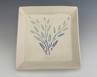 Serving  Plate, Porcelain, Hand-Carved, Clay, Shades of Blue