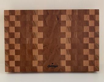 End Grain Cutting Board, Mixed Hardwoods, Walnut, Maple, White Oak, Cherry